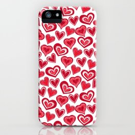 MESSY HEARTS: RED iPhone Case