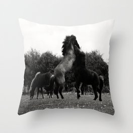 Wild Horses in Black and White Throw Pillow
