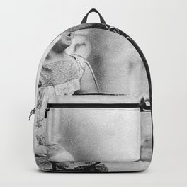 The Happiness of Little Girls and Great Danes black and white photograph Backpack