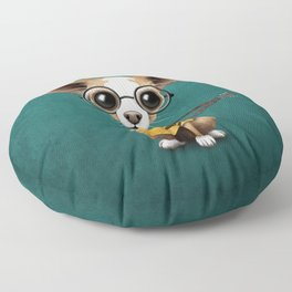 Chihuahua Puppy Dog Playing Old Acoustic Guitar Teal Floor Pillow