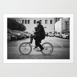 Brothers biking  Art Print