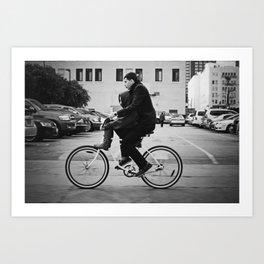 Brothers biking  Art Print