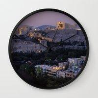 "greece Wall Clocks featuring Greece by ""CVogiatzi."