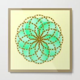 Framed Aqua Ombre Overlapping Circles with Decorative Gold Chain Overlay Metal Print