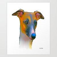 greyhound Art Prints featuring Greyhound by Marlene Watson
