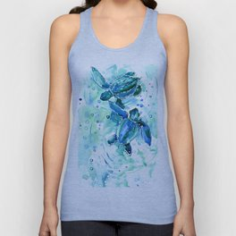 Turquoise Blue Sea Turtles in Ocean Unisex Tank Top
