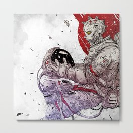 Cyber Astronaut white Metal Print