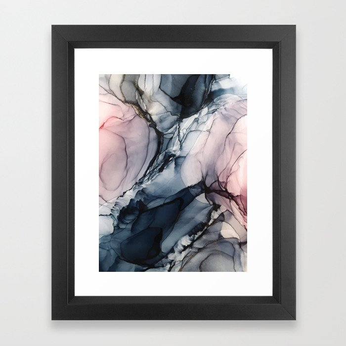 Blush, Navy and Gray Abstract Calm Clouds Framed Art Print