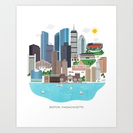 Boston Skyline Illustration Art Print