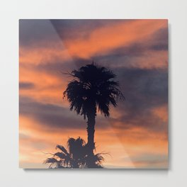 Palm Trees in Sunset on the Planet Jupiter Metal Print
