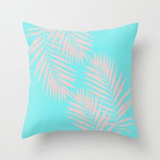 Abstract modern pink Tropical Exotic Palm Leaves on aqua Throw Pillow