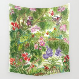 Birds and Orchids Tropical Rainforest II Wall Tapestry