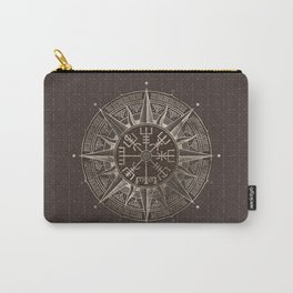 Vegvisir - Viking Compass - Brown Leather and gold Carry-All Pouch