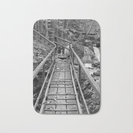 wooden bridge Fischbach, black and white photography Bath Mat