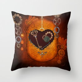 Steampunk, heart with gears Throw Pillow