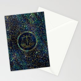 Libra Zodiac Gold Abalone on Constellation Stationery Cards