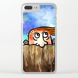 Watercolor Peering Man Clear iPhone Case
