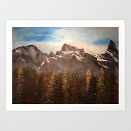 The Three Sisters - Mountain range inspired by Canmore / Banff Alberta, Canada Art Print