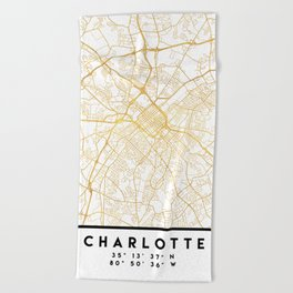 CHARLOTTE NORTH CAROLINA CITY STREET MAP ART Beach Towel