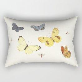 Vintage Butterfly Illustration - Yellow Rectangular Pillow