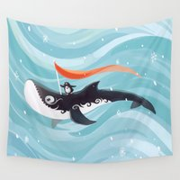 orca Wall Tapestries featuring Grandpa Orca by Freeminds
