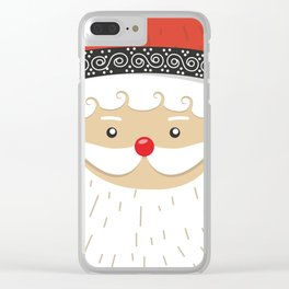 Close Up Santa Claus Face Clear iPhone Case