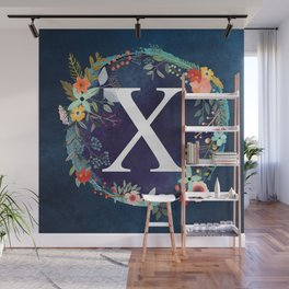 Personalized Monogram Initial Letter X Floral Wreath Artwork Wall Mural