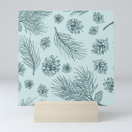 Pine Cones and Pine Branches Pattern (Mint and Pine) Mini Art Print