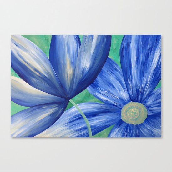 Large Blue Flowers Canvas Print