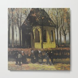 Vincent van Gogh - Congregation Leaving the Reformed Church in Nuenen (1884) Metal Print