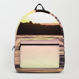 Ocean Waters // Turtle Bay Hawaii Behind the Cove Orange Pink Yellow Sunset Backpack