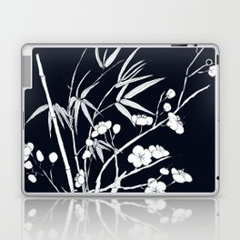 bamboo and plum flower white on black Laptop & iPad Skin