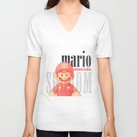 mario V-neck T-shirts featuring Mario by Thomas Official