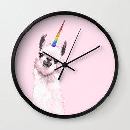 Unicorn Llama in Pink Wall Clock