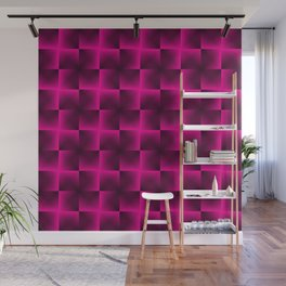 Rotated rhombuses of pink crosses with shiny intersections. Wall Mural
