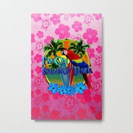Pink Hibiscus Island Time Sunset Metal Print