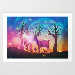 Girl meeting magical forest animals Art Print