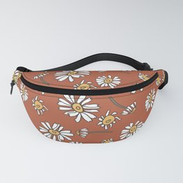 Wild Flowers Daisies Surface Pattern with Terra Cotta Background Fanny Pack
