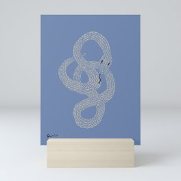 Grey on Blue Snake Mini Art Print