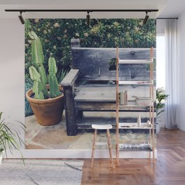 Santa Fe Style Bench With Potted Cactus Wall Mural