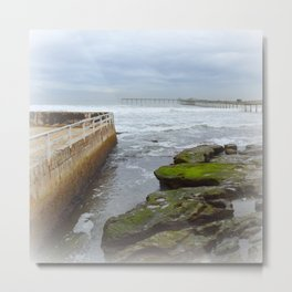 When the tide goes out, a briny soup is trapped among the rocks Metal Print