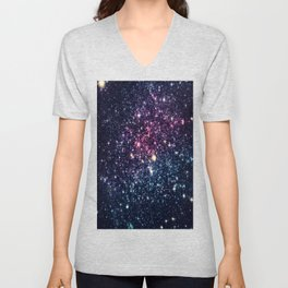 Galaxy Stars : Subtle Purple Mauve Pink Teal Unisex V-Neck