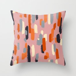 skritchy lines on pink Throw Pillow