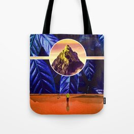 """""""Disclosure"""" - Mountain in Leaves Collage Tote Bag"""