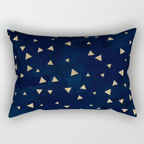 Gold modern triangles geometric on navy blue watercolor pattern Rectangular Pillow by Girly ...