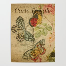 French Butterfly Collage Poster
