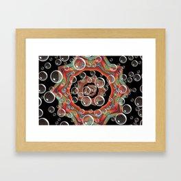 Black Orange Bubbles Framed Art Print
