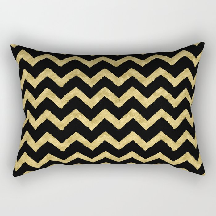 Chevron Black And Gold Rectangular Pillow