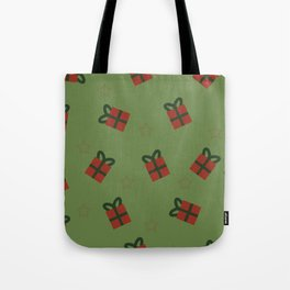 Gifts and stars - green and red Tote Bag