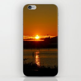 Sunset Over Columbia River At Astoria Harbor iPhone Skin